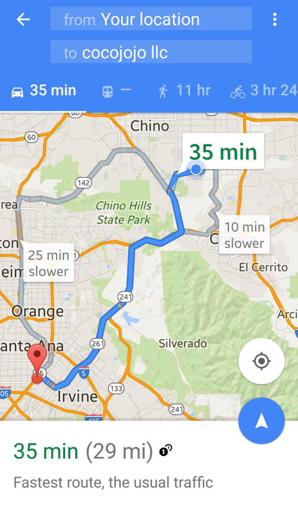 Google Maps Toll Road Route Chino to Santa Ana