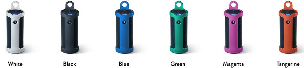 Here are Slings for the Amazon Tap in white, black, blue, green, magneta, and tangerine