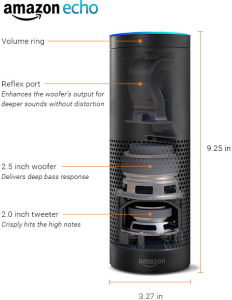 showing the height & width of the Amazon Echo